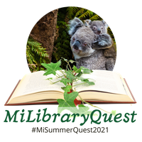 MILibraryQuest Logo with koalas, an open book, #MILibraryQuest021